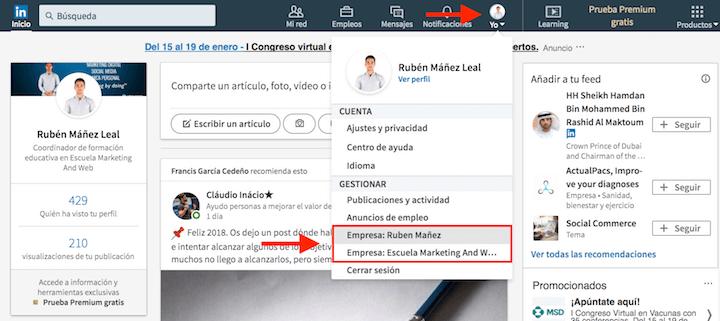 gestionar pagina empresa linkedin