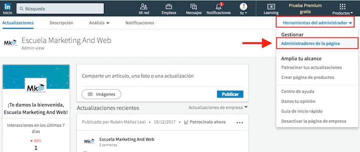 añadir mas de un administrador en linkedin