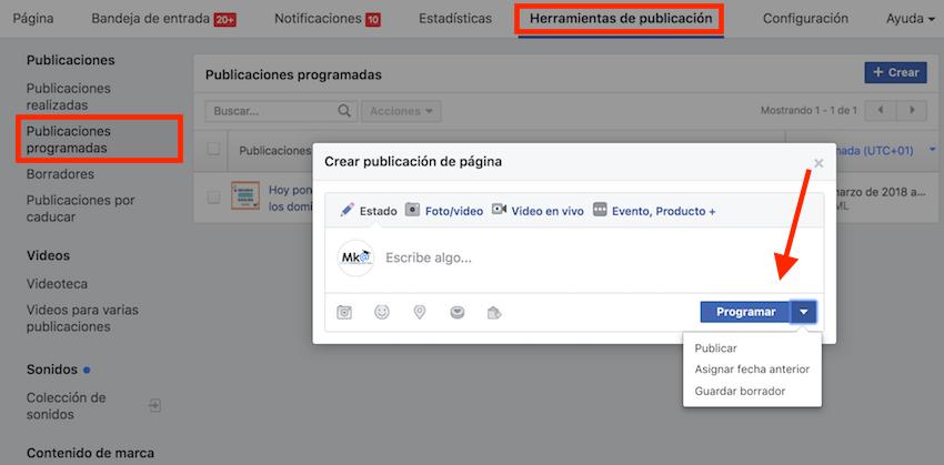 programar publicaciones facebook