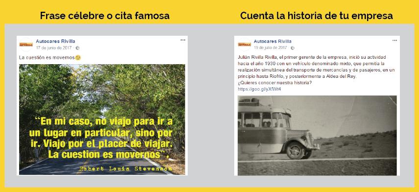 tipos de publicaciones en facebook