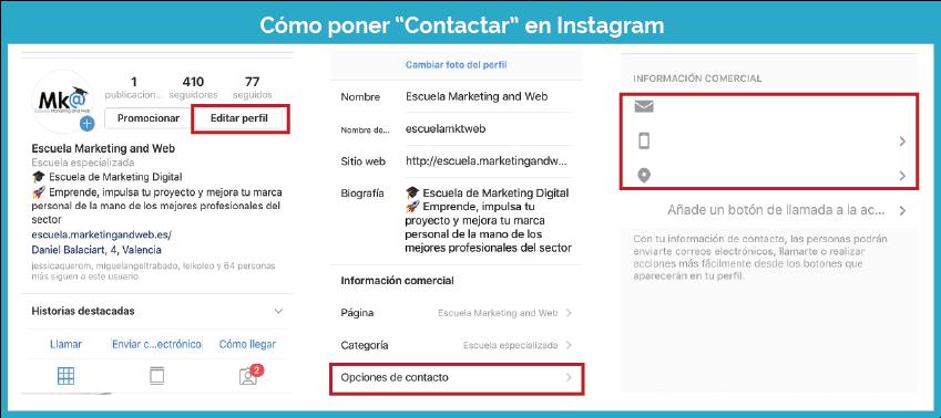 Cómo poner contactar en Instagram