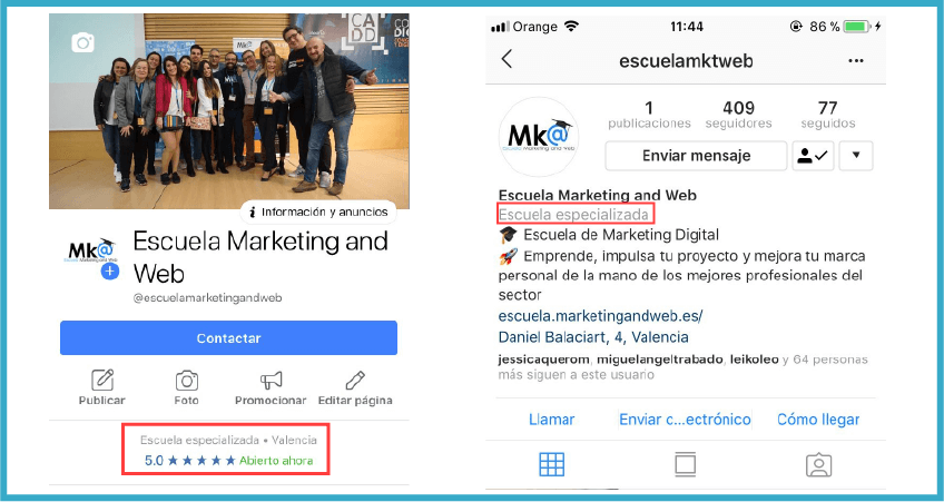Diferencia cuenta de empresa y perfil personal en Instagram