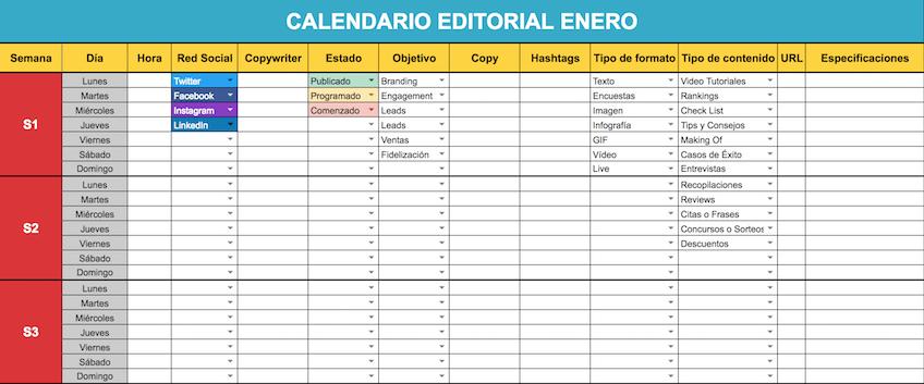 Plantilla calendario redes sociales