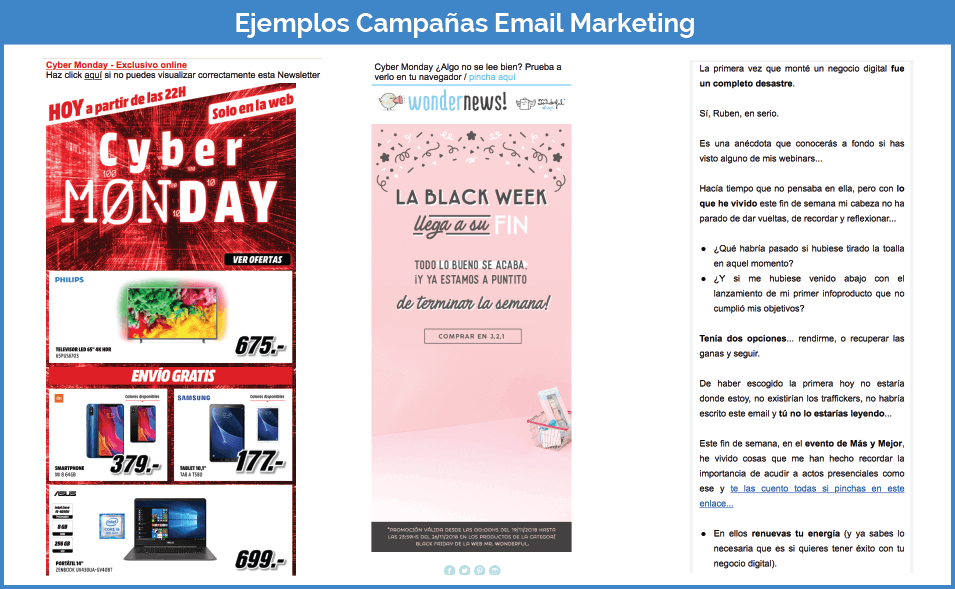 Ejemplos campañas email marketing