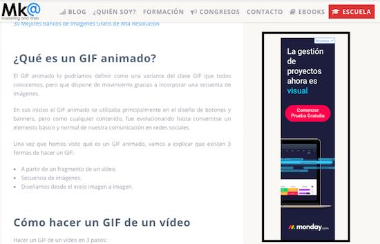 Ejemplo Publicidad Display