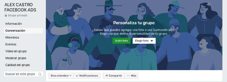 Configurar grupo de facebook