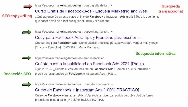 SEO copywriting escuela marketing and web