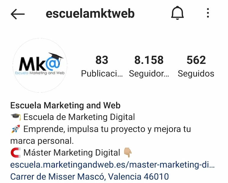 biografia instagram escuela marketing and web
