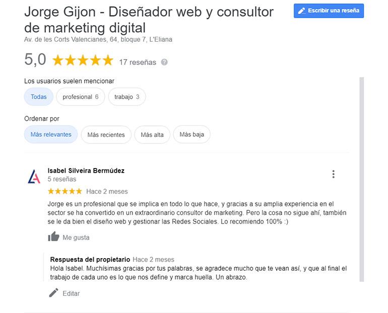 reseñas de clientes jorge gijon