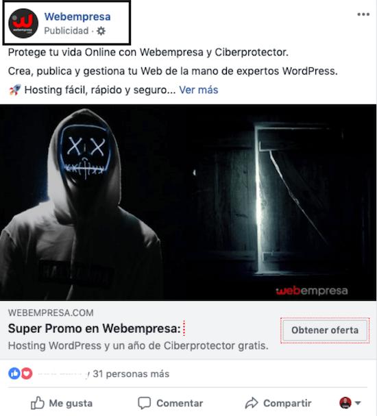 Ejemplo anuncio redes sociales