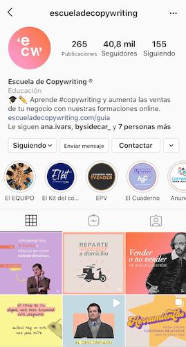 ejemplo stories destacadas instagram