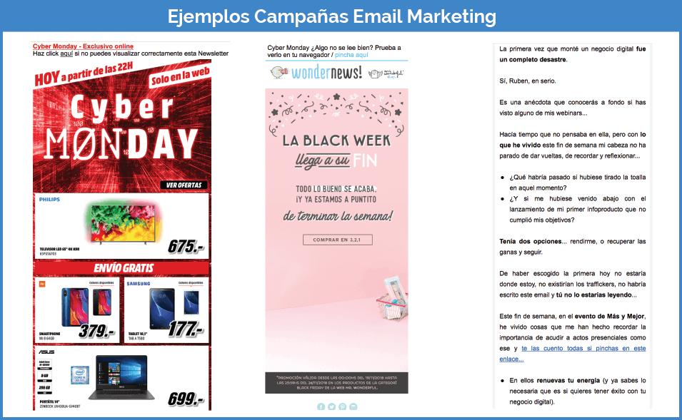 Ejemplos campañas email marketing