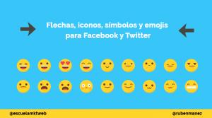 flechas iconos y emojis para facebook y twitter