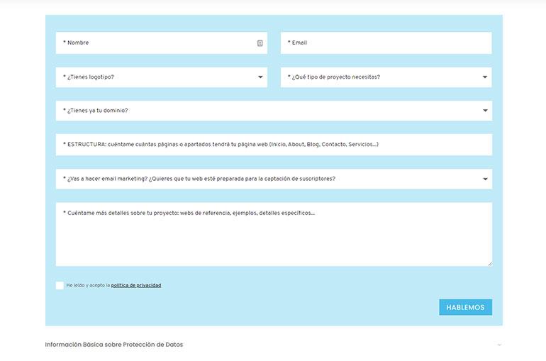 formulario de presupuesto max cf