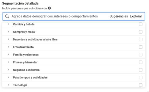 segmentacion facebook e instagram ads